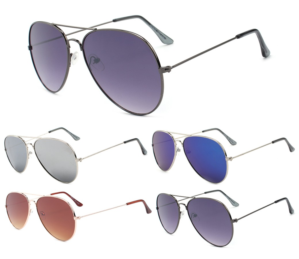 Flat Lens Aviator Metal Sunglasses AV013