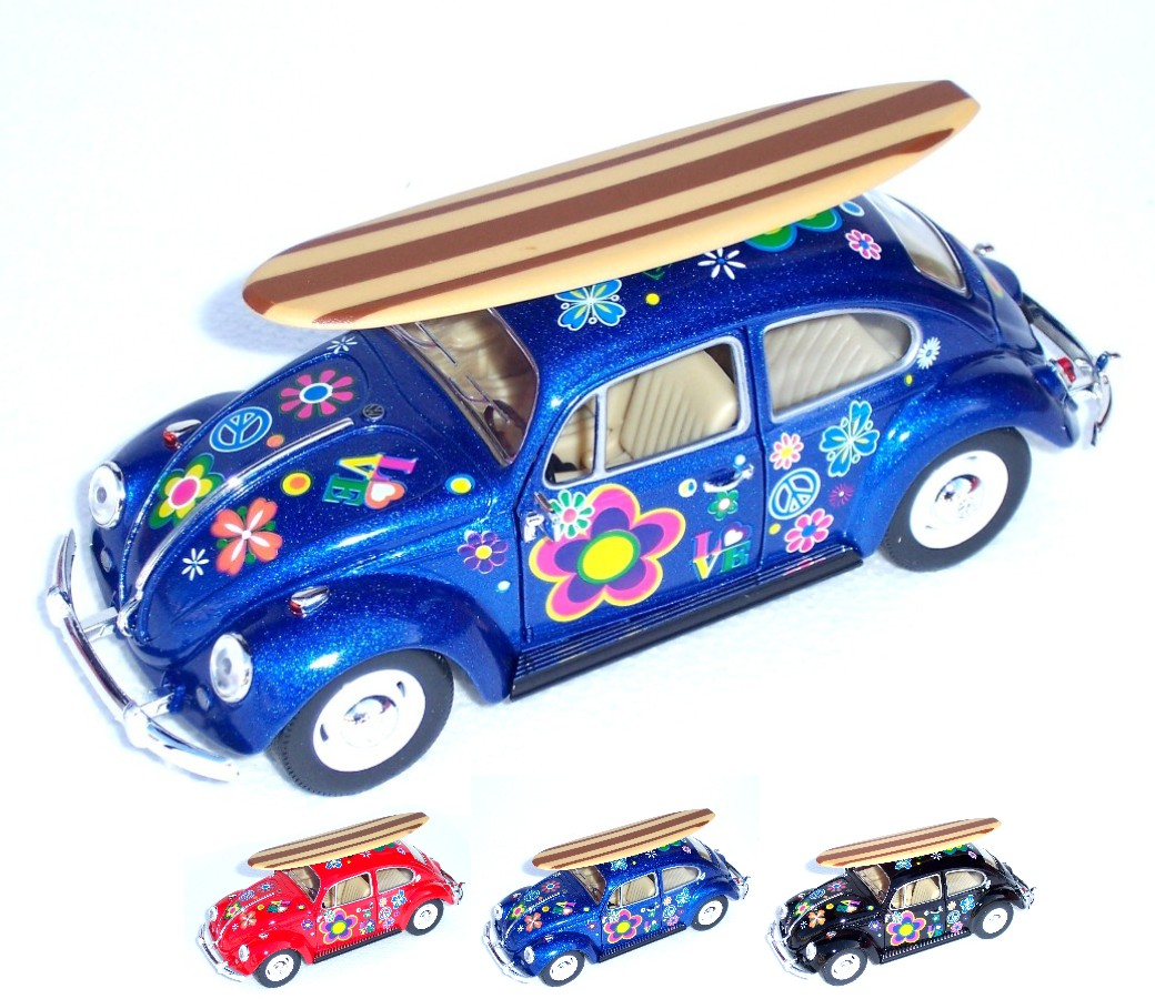 1:24 1967 Volkswagen Classic Beetle with Printing and Surfboard KT7002DFS1