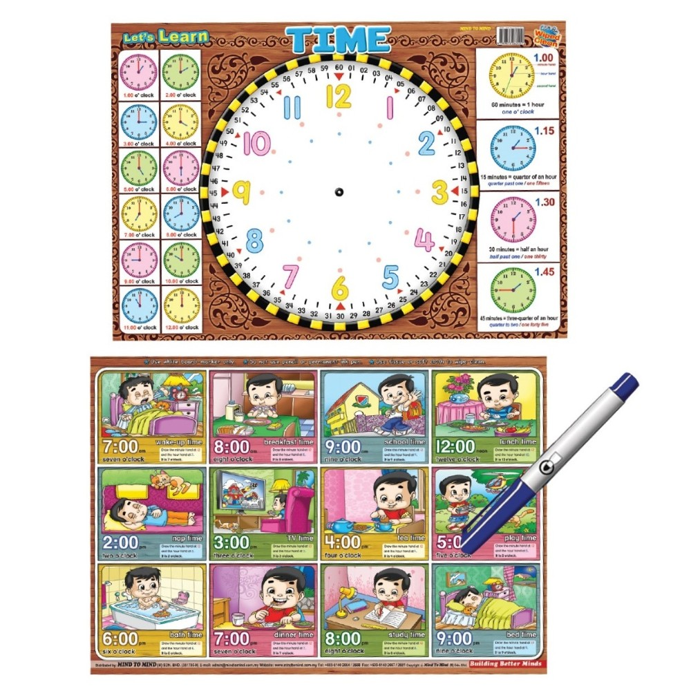 Writing Board Let's Learn Time (2 side) (MM60502)