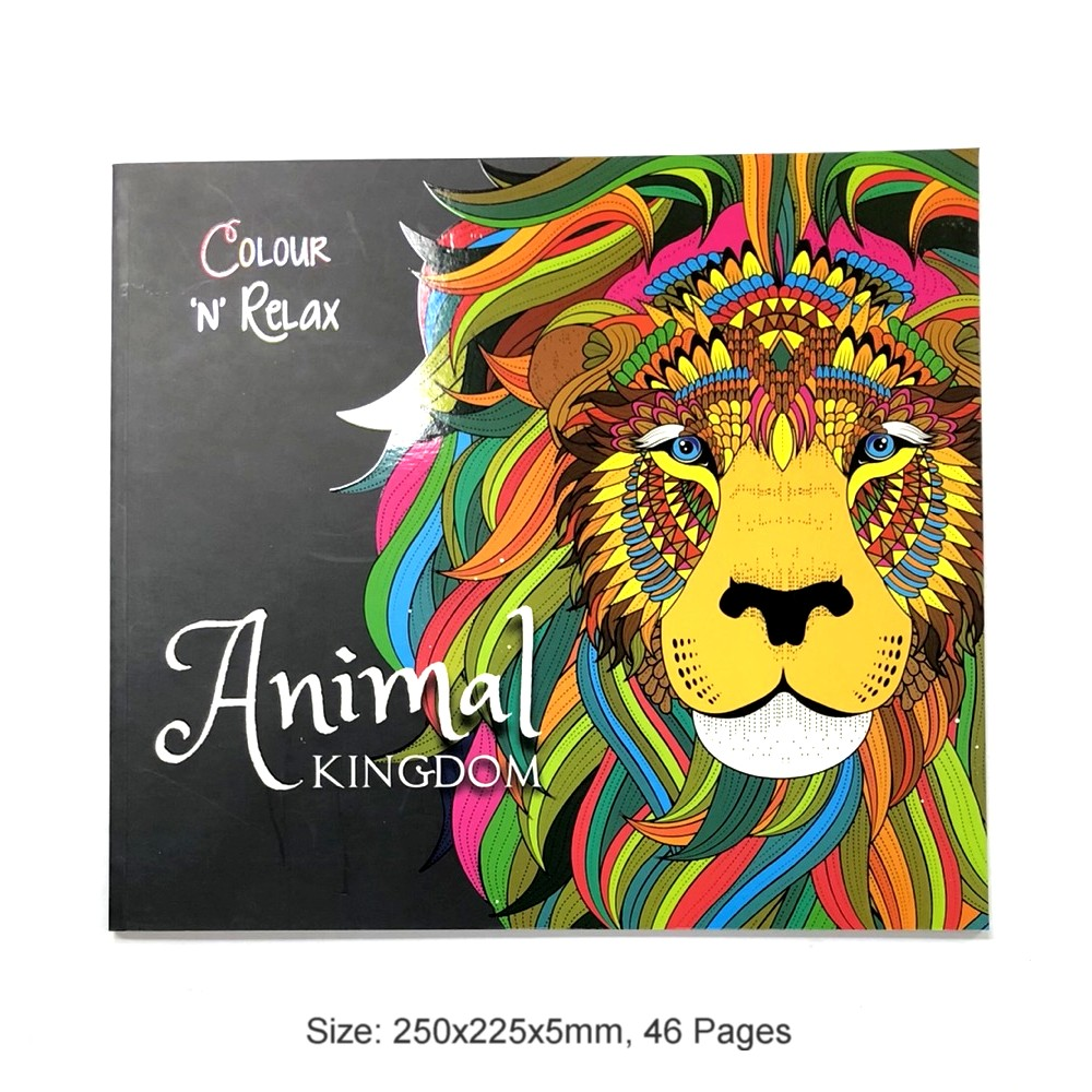 Colour & Relax Animal Kingdom (46 Pages Adult Colouring Book) MM87004