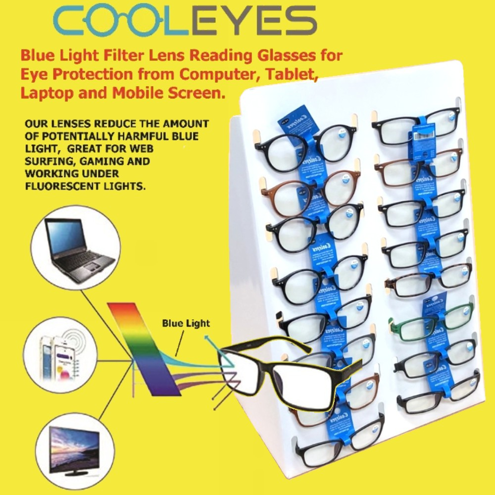 Buy 72 Pairs Cooleyes Anti Blue Light Lens Reading Glasses Package Deal, Choose Free Reading Glasses Or Free Display Stand (Special Limited Time Only