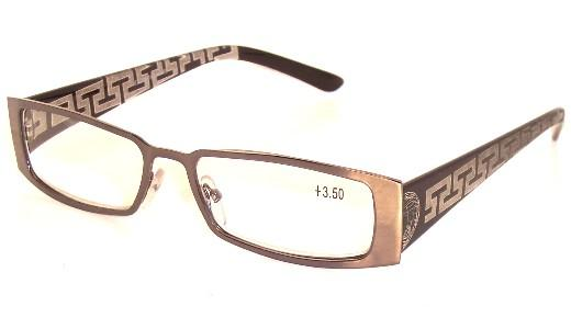 Fashion Reading Glasses, Opticl Glasses, Metal Fram, Laser engraving on plastic temple