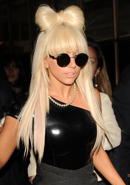 as glitz and glam are usually incorporated into Lady Gaga's sunglasses.